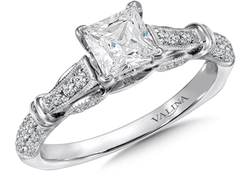 Bridal Jewelry - Vintage Inspired Princess Cut Engagement Ring - image #2