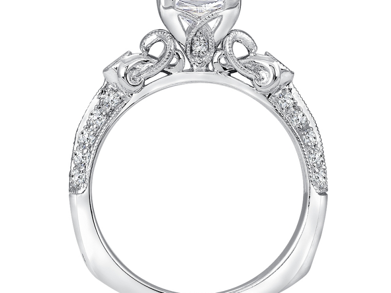 Bridal Jewelry - Princess Cut Vintage Inspired Engagement Ring - image #3