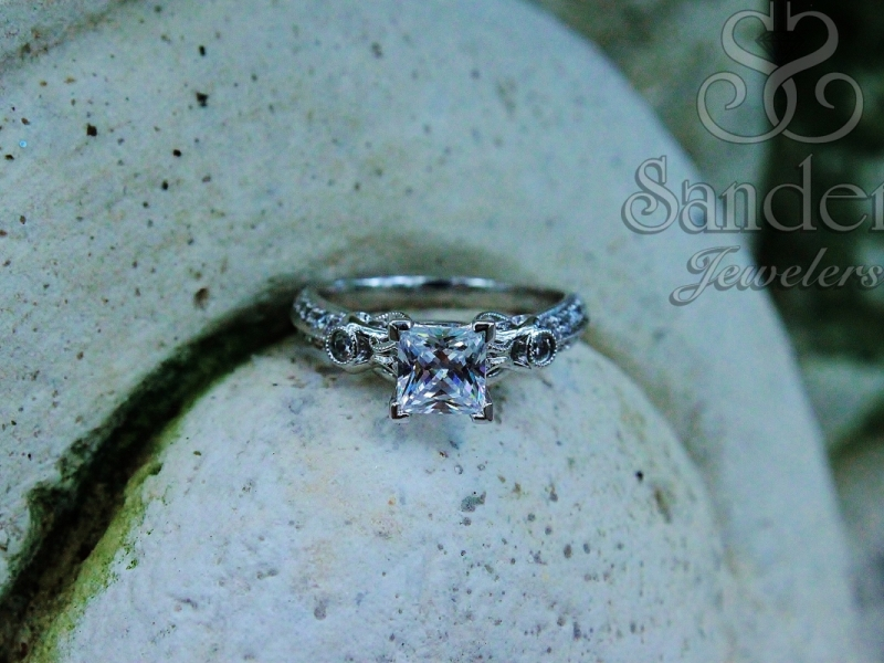 Bridal Jewelry - Princess Cut Vintage Inspired Engagement Ring