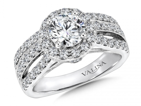 Bridal Jewelry - 3 Row Round Halo Diamond Engagement Ring