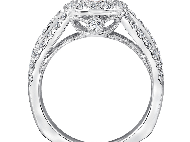 Bridal Jewelry - 3 Row Round Halo Diamond Engagement Ring - image #2