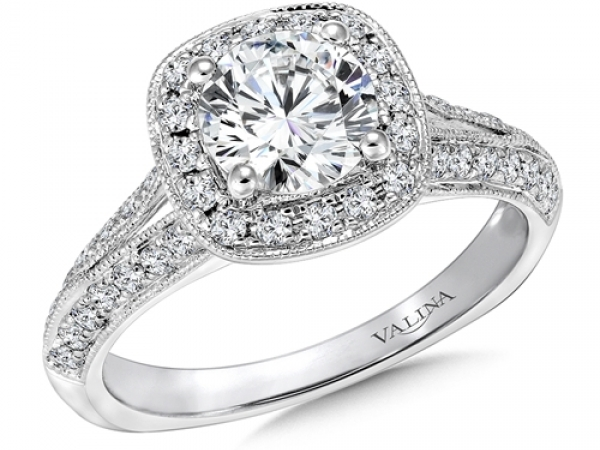 Bridal Jewelry - Cushion Halo Split Shank Engagement Ring