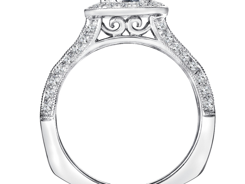 Bridal Jewelry - Cushion Halo Split Shank Engagement Ring - image #2