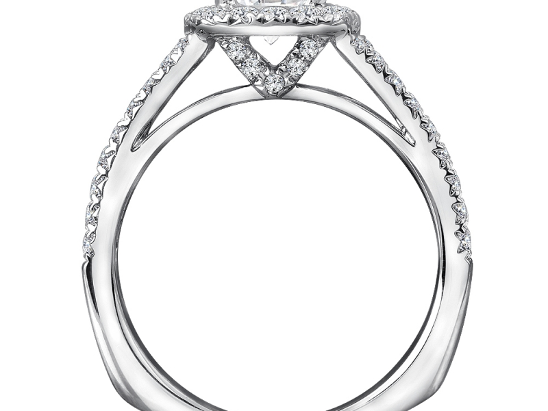 Bridal Jewelry - Cushion Halo 3 Row Engagement Ring - image 2