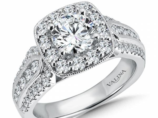Engagement Rings - 3 Row Cushion Halo Diamond Engagement Ring