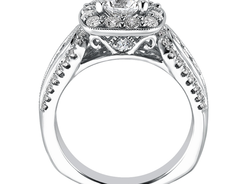 Engagement Rings - 3 Row Cushion Halo Diamond Engagement Ring - image #2