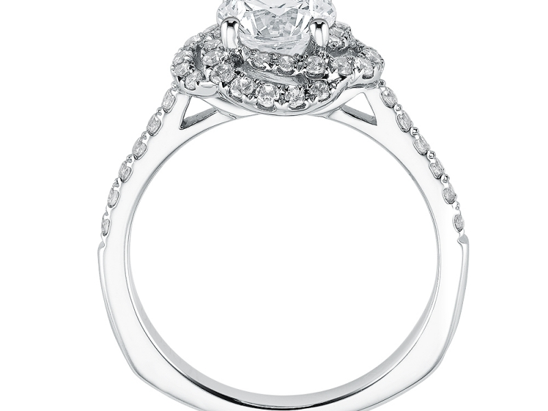 Bridal Jewelry - Floral Halo Engagement Ring - image #2
