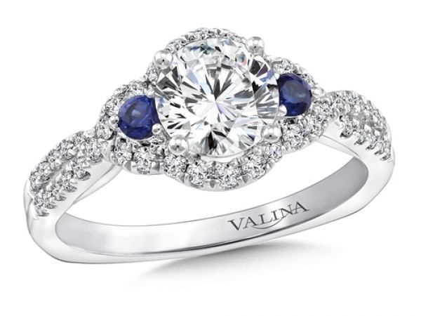 Bridal Jewelry - 3 Stone Diamond and Sapphire Halo Engagement Ring
