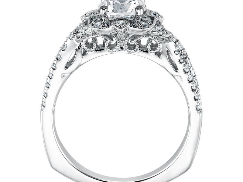 Bridal Jewelry - Vintage Inspired Floral Halo Engagement Ring - image #2