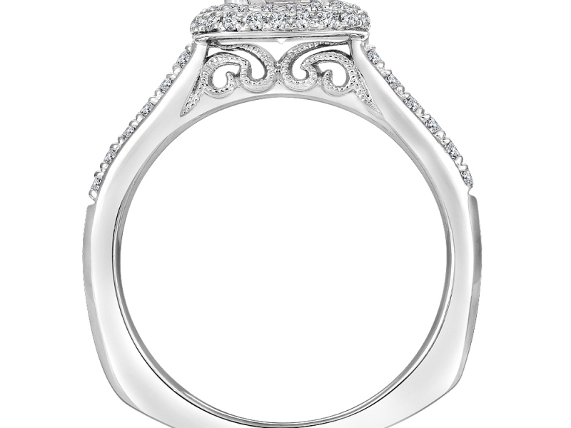 Bridal Jewelry - Pave Cushion Halo Engagement Ring - image 2