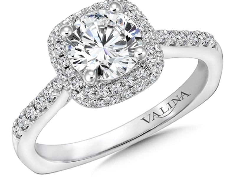 Bridal Jewelry - Pave Cushion Halo Engagement Ring - image 3