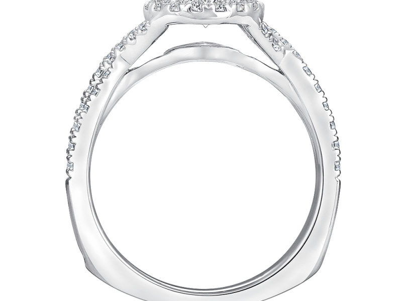 Bridal Jewelry - Twisting Round Halo Engagement RIng - image #2