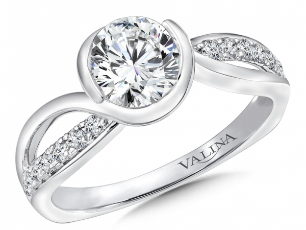 Bridal Jewelry - Half Bezel Diamond Accented Engagement Ring