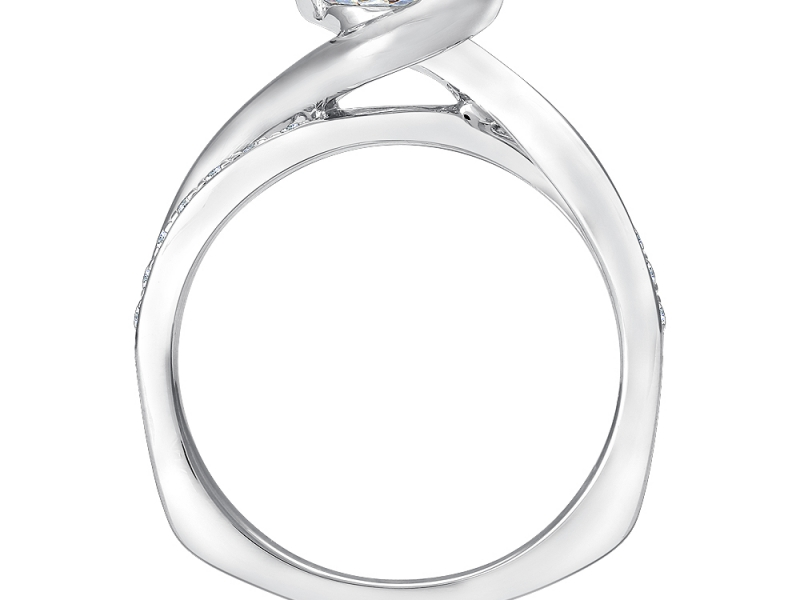 Bridal Jewelry - Half Bezel Diamond Accented Engagement Ring - image #2