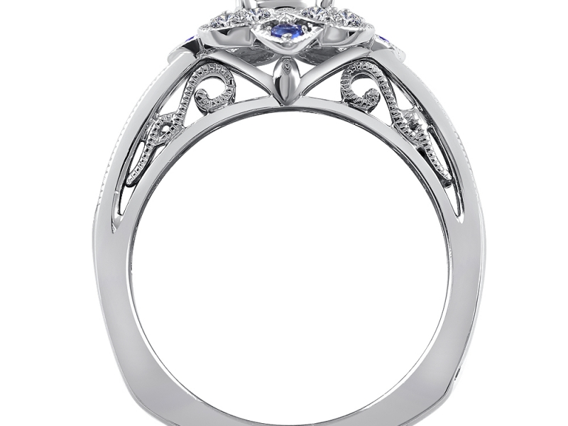Bridal Jewelry - Floral Halo Sapphire Accented Engagement Ring - image #2