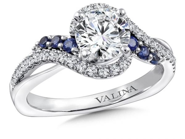 Bridal Jewelry - Criss-Cross Diamond and Sapphire Engagement Ring