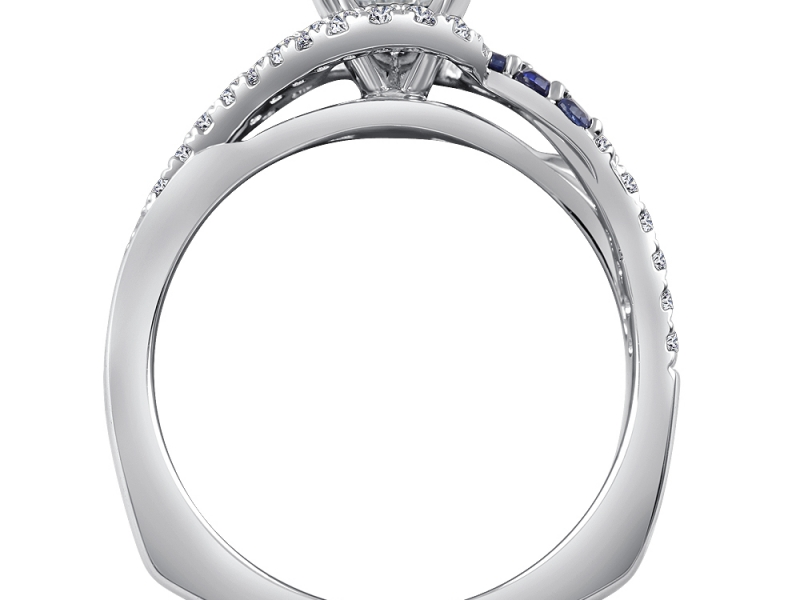 Bridal Jewelry - Criss-Cross Diamond and Sapphire Engagement Ring - image #2