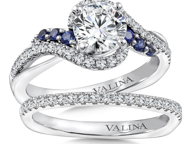 Bridal Jewelry - Criss-Cross Diamond and Sapphire Engagement Ring - image 3