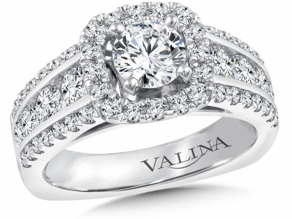 Bridal Jewelry - 3 Row Cushion Halo Diamond Engagement Ring