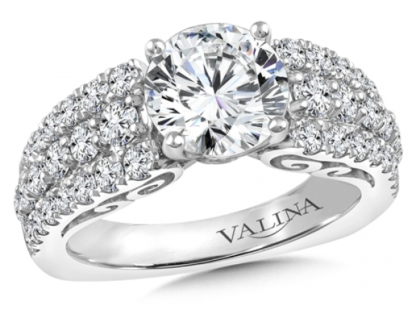 Bridal Jewelry - Pave Diamond Engagement Ring