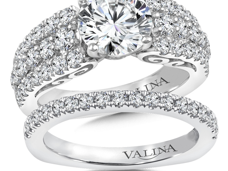 Bridal Jewelry - Pave Diamond Engagement Ring - image #3