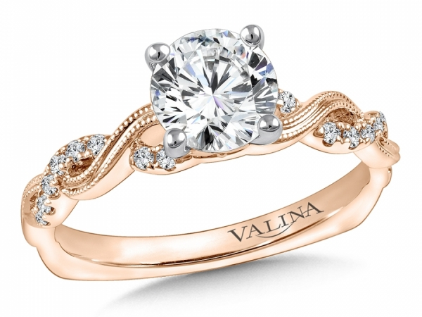 Bridal Jewelry - Twisting Rose Gold Engagement Ring