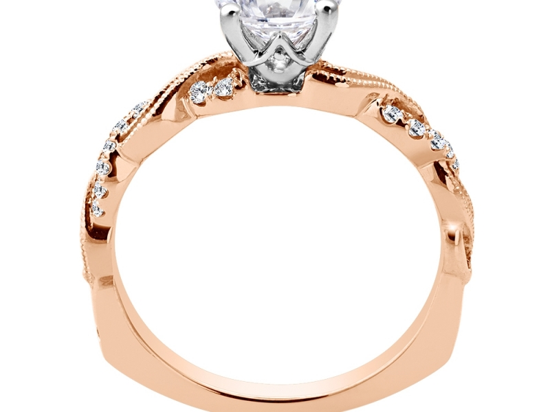 Bridal Jewelry - Twisting Rose Gold Engagement Ring - image #2