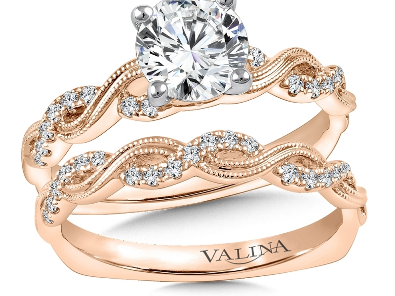 Bridal Jewelry - Twisting Rose Gold Engagement Ring - image #3