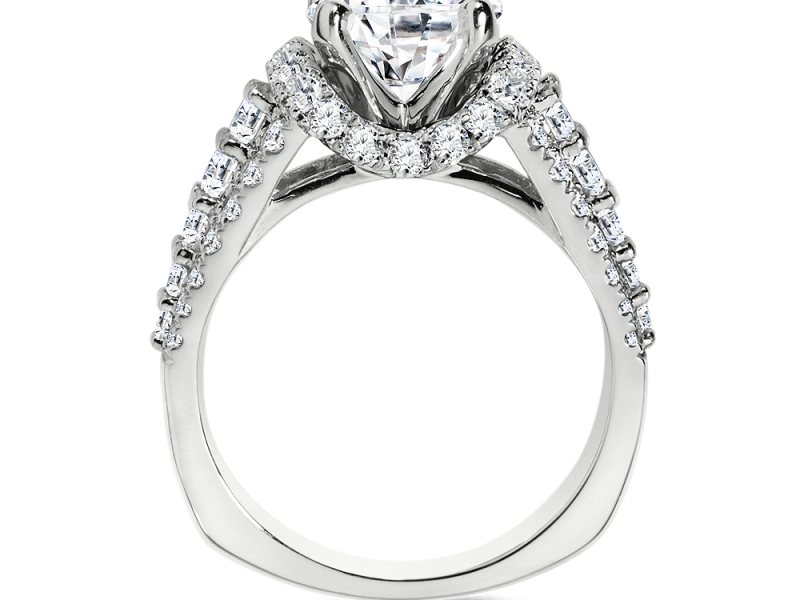 Bridal Jewelry - Pave Diamond Engagement Ring - image #2