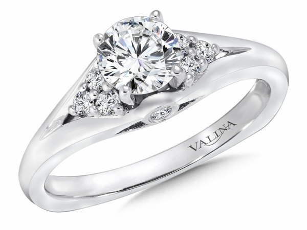Bridal Jewelry - Diamond Shoulder Engagement Ring