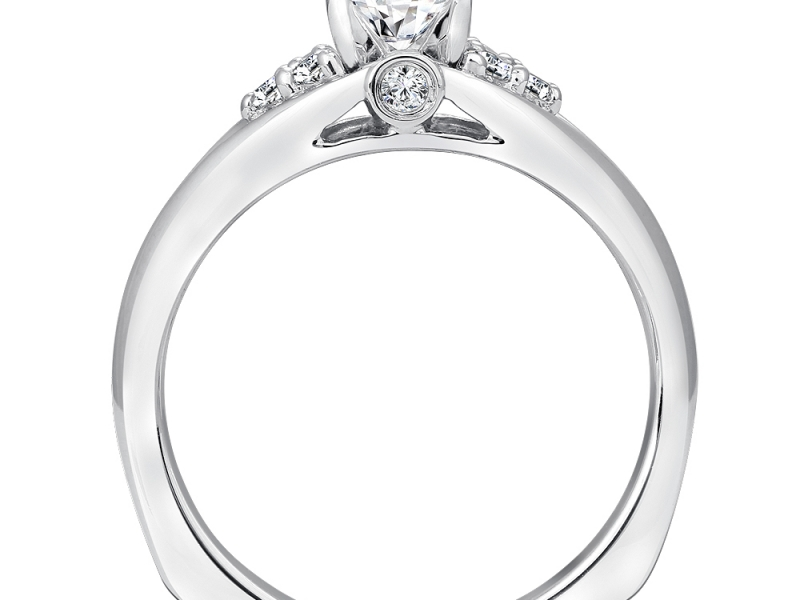 Bridal Jewelry - Diamond Shoulder Engagement Ring - image #2