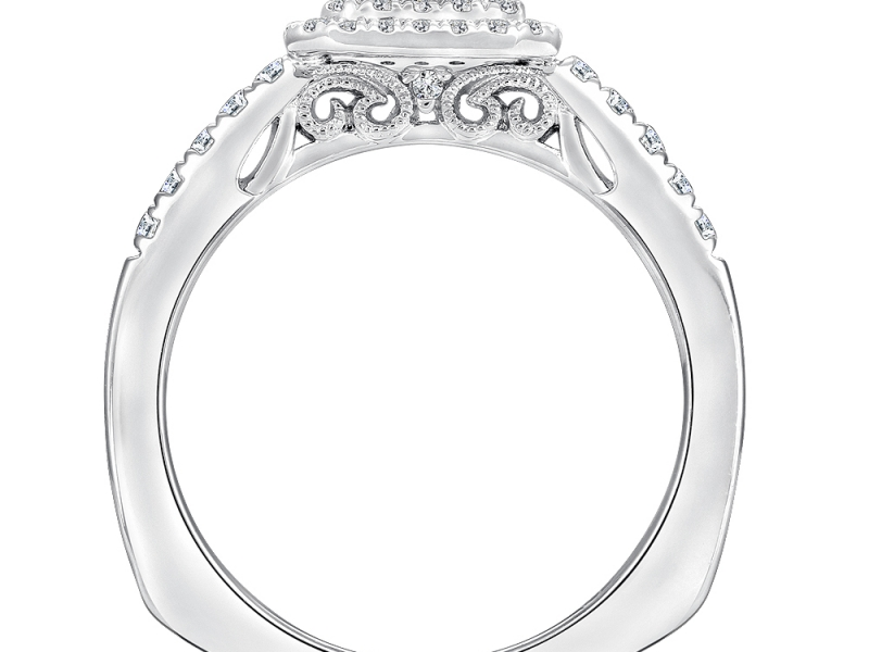 Bridal Jewelry - Cut Corner Double Halo Engagement Ring - image 2