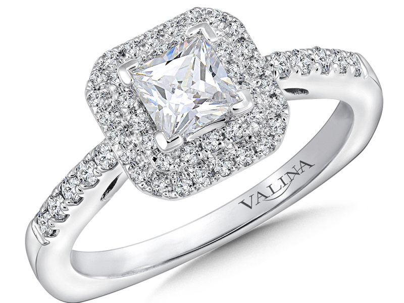 Bridal Jewelry - Cut Corner Double Halo Engagement Ring - image 3