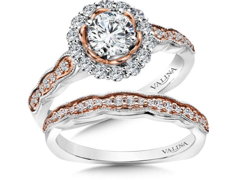 Bridal Jewelry - Two-Tone Round Halo Engagement Ring - image #3