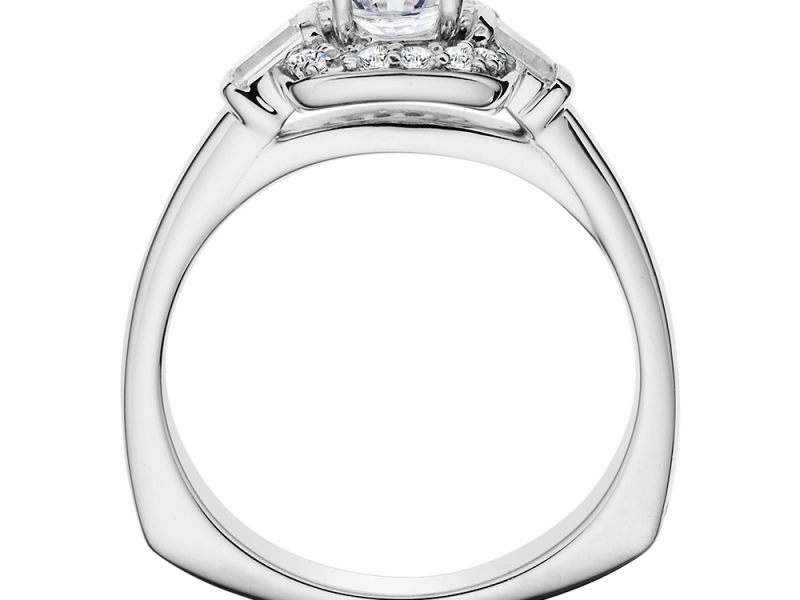 Bridal Jewelry - Cushion Halo w/ Baguette Accents Engagement Ring - image 2
