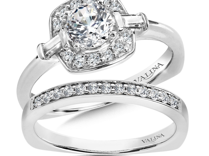Bridal Jewelry - Cushion Halo w/ Baguette Accents Engagement Ring - image #3