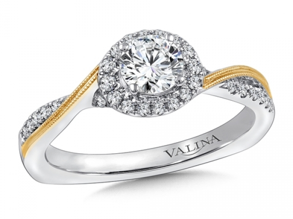 Bridal Jewelry - Two-Tone Criss-Cross Halo Engagement Ring