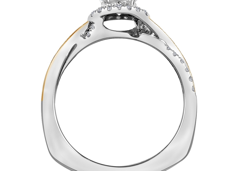 Bridal Jewelry - Two-Tone Criss-Cross Halo Engagement Ring - image #2
