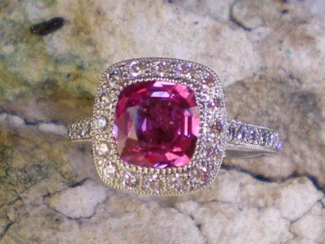 Sanders Jewelers Custom Designs - Pink Sapphire and Diamond Ring in Platinum - image #4