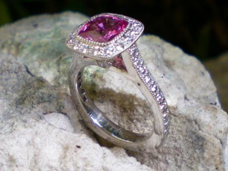 Sanders Jewelers Custom Designs - Pink Sapphire and Diamond Ring in Platinum - image #3