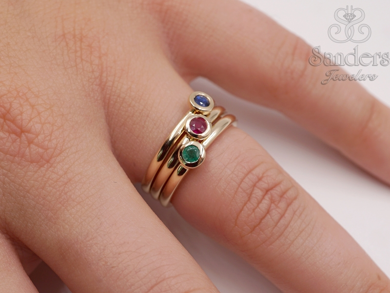 Rings - Emerald Stacker Ring - image #4