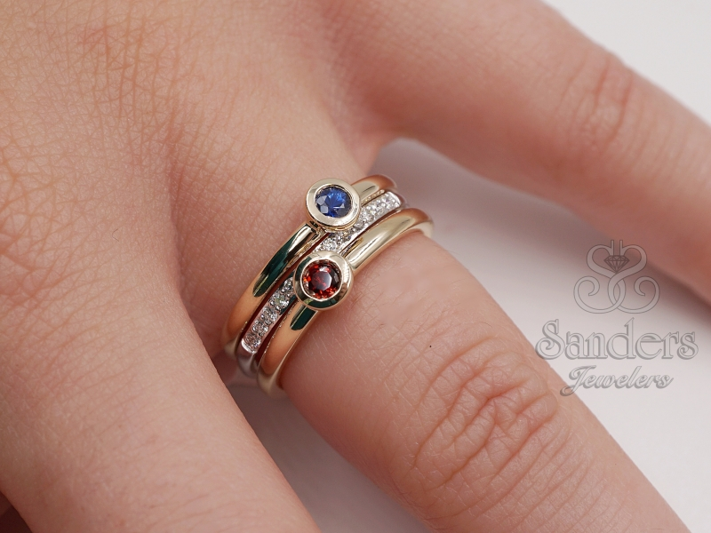Rings - Blue Topaz Stacker Ring - image #4