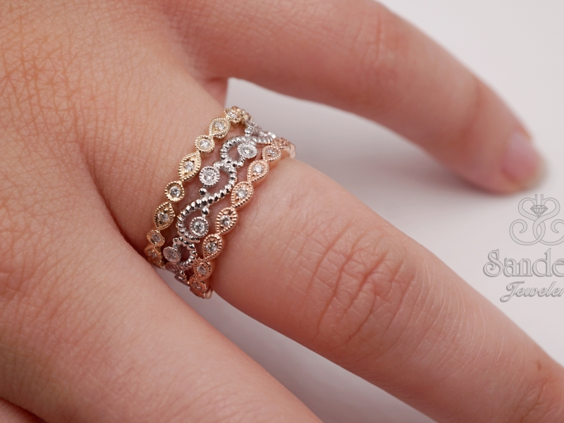 Rings - Scallop Diamond Stacker Band - image 2