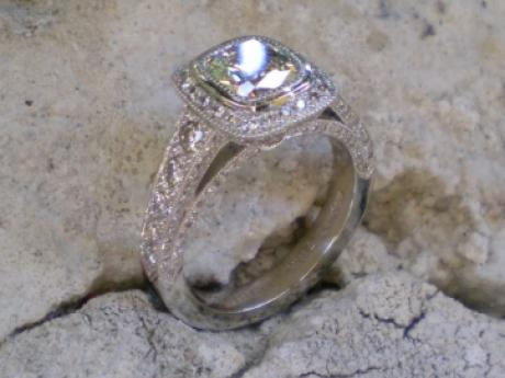 Sanders Jewelers Custom Designs - Diamond Ring with Hand Engraving