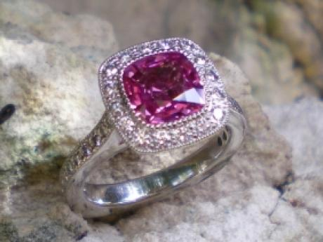 Sanders Jewelers Custom Designs - Pink Sapphire and Diamond Ring in Platinum