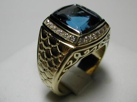Sanders Jewelers Custom Designs - Men's Sapphire and Diamond Ring
