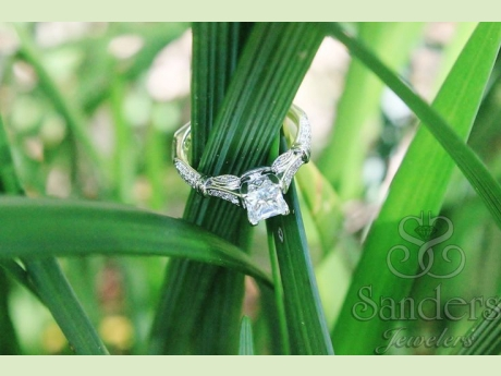 Bridal Jewelry - Vintage Inspired Princess Cut Engagement Ring