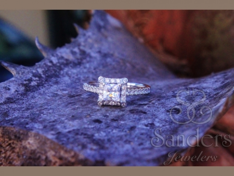Bridal Jewelry - Square Halo Engagement Ring