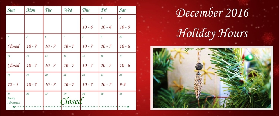 Christmas Calendar - holiday hours -