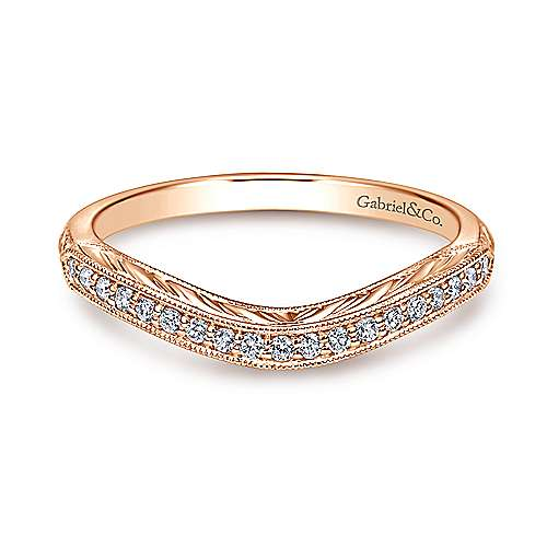 Wedding Band - 14K Rose Gold Curved Diamond Wedding Band